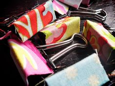 Fabric covered binder clips