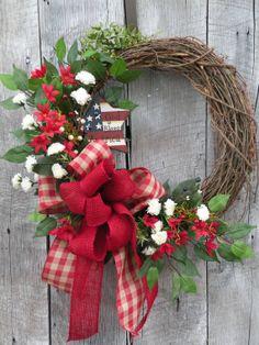 Patriotic Wreath Americana Wreath God Bless by KathysWreathShop, $89.99