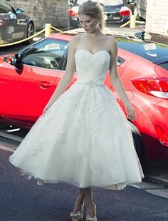 Sweetheart Cocktail Length Wedding Dress  with Natural Waist in Lace. Bridal Gown Style Number:32632093