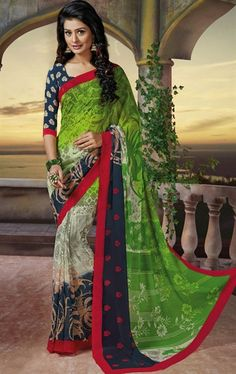 Picture of Magnificient Aloe Vera Green, Buttercream and Navy Blue Color Saree