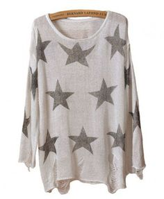 Star Print Ripped Knitted Pullovers in White