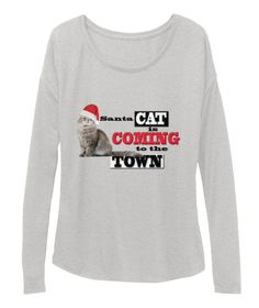 Santa Cat Is Coming To The Town Athletic Heather T-Shirt Front
