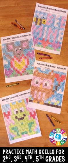 These Valentine's Day Math Color-by-Number activities are the perfect way to… Math Tutor, Math Skills, Math Lessons, Teaching Math, Maths, Math Tips, Kindergarten Math, Number Activities, Fun Math Games