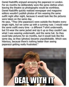 Daniel Radcliffe knows how to troll the paparazzi. This is an epic win.