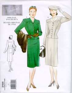 Reproduction Vogue patterns - lovely smart suits.