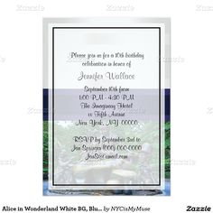 Alice in Wonderland White BG, Blue Ribbon Birthday 5x7 Paper Invitation Card