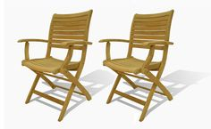 Dublin Teak Folding Armchairs - (Set of 2)