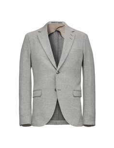 """Men's blazer in casual wool with knitted appearance. Features slightly wider notch lapels. Two-button closure. Straight double jet pockets and double back vents. Half lined. Slim fit. </br></br>For a complete suit look wear it with <a href=""""http://tigerofsweden.com/dk/trousers/melker-trousers-T63532001.html"""" style=""""font-weight:bold; text-decoration: underline;"""" target=""""_blank"""">Melker trousers..."""