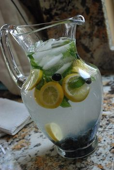 Blueberry Mint Lemonade Recipe - 0 Points + - LaaLoosh  Of course, Vodka must be added!