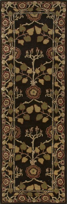 Jaipur Rugs Classic Arts And Crafts Pattern Brown/Yellow Wool Area Rug PM58 (Runner)