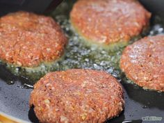 "How to pan-fry a burger. For 2 burgers: sprinkle just under 1/4 tsp salt, fresh ground black pepper and a big sprinkle of steak seasoning over 1/2 lb of 93% lean ground beef. Shape into two 4"" patties with a well in the middle. Then follow the directions! One minute after flipping, put on the cheese."
