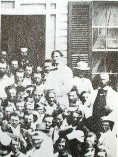 Lincoln in white in Springfield with friends celebrating his presidential victory