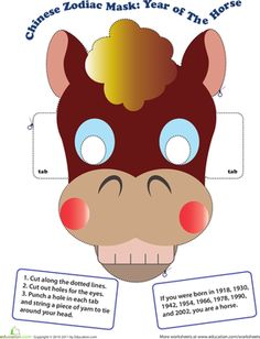 Chinese New Year Kindergarten Paper Projects Community & Cultures Worksheets: Make a Chinese Zodiac Mask: Year of the Horse
