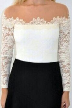White Long Sleeves Lace Top with Beige Mesh Insert