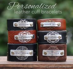 Wear Your Word 2015  Personalized Leather cuff bracelet  by LoveSquaredDesigns  Wear the words that speak life to your soul!