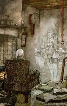 Scrooge meets Marley's ghost in Charles Dickens 'A Christmas Carol'. Illustration is by Anton Pieck, 1895-1987, Dutch painter, & maker of woodcuts and etchings.