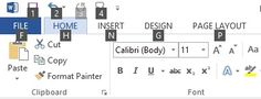 Screen shot of Office 2013 ribbon with access key numbers and letters displayed
