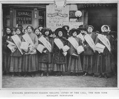 "Portrait of women shirtwaist strikers holding copies of ""The Call.""  A placard with Hebrew writing hangs in the background, 1910. by Kheel Center, Cornell University, via Flickr"
