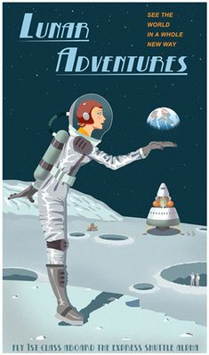 Visite the Moon - Steve Thomas Galactic travel poster
