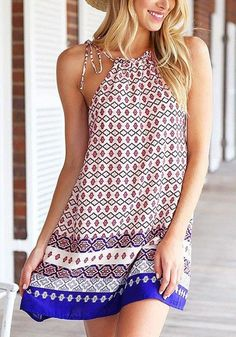 Multicolor Geometric Condole Belt Drawstring Sleeveless Mini Dress