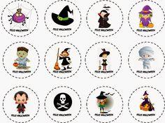 Feliz Halloween: Etiquetas, Stickers o Toppers para Cupcakes para Imprimir Gratis.