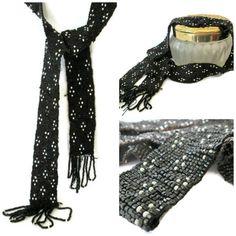 Art Deco Sautoir Beaded Tie Necklace Fringe by WeeLambieVintage