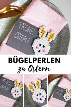 Basteln zu Ostern: Bügelperlen Hase als Tischkarte zur Tischdeko #ostern #diy #bügelperlen