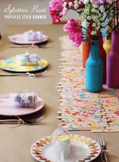 I can see this Popsicle table runner used for many things...placemats, trivet, ets. ................24 Great DIY Party Decorations   Style Motivation