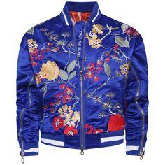 Signature satin mazarine embroidered bomber jacket