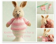 Toy knitting pattern for a bunny egg cosy Easter bunny image 0 Rabbit Toys, Bunny Toys, Baby Bunnies, Easter Bunny, Bunny Rabbit, Knitted Bunnies, Free Knitting, Knitting Patterns, Knitting Toys