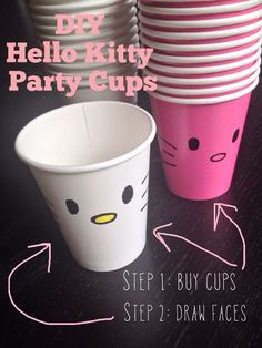 Hello Kitty party, make kitty paper cups! Kitty Party, Hello Kitty Theme Party, Hello Kitty Themes, Diy Hello Kitty Birthday Party Ideas, Hello Kitty Favors, Birthday Ideas, Cat Birthday, 4th Birthday Parties, Birthday Balloons