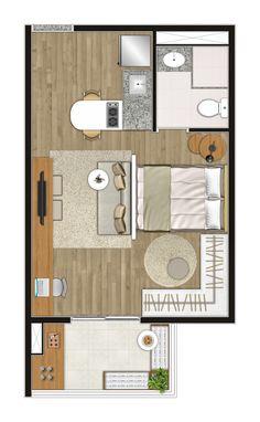 Ilustração artística da planta do apartamento Studio - 29,16 m² (final 08 do 2º ao 11º andar)
