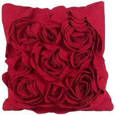 Linea Adrienne felt flower cushion ($39) found on Polyvore