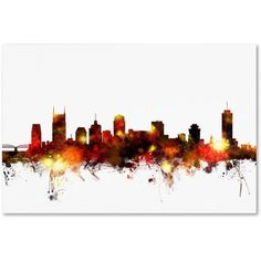 Trademark Fine Art Nashville Tennessee Skyline Red Canvas Art by Michael Tompsett, Size: 30 x 47, Red