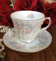 """Vintage Duchess """"Maryland"""" Bone China Teacup and Saucer on Etsy, $15.00"""