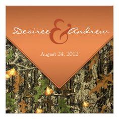 Orange Camo Wedding Invitations