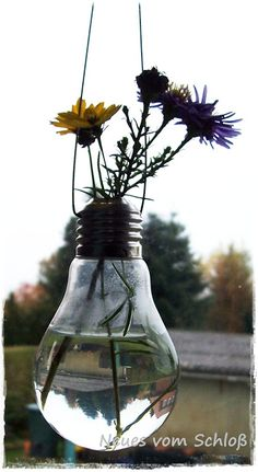 Upcycling - hanging light bulb vase...these are pretty...