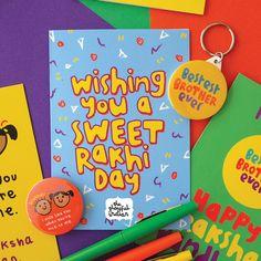 Have A Sweet Rakhi Day - Happy Raksha Bandhan Sweet and retro inspired rakhi card Diwali Greeting Cards, Diwali Greetings, Diy Rakhi Cards, Diy Birthday, Birthday Cards, Rakhi Day, Raksha Bandhan Cards, Happy Birthday Love Quotes, Happy Rakhi
