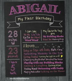 Colorful First Birthday Chalkboard Poster  by ChalkyPrints on Etsy, $15.00