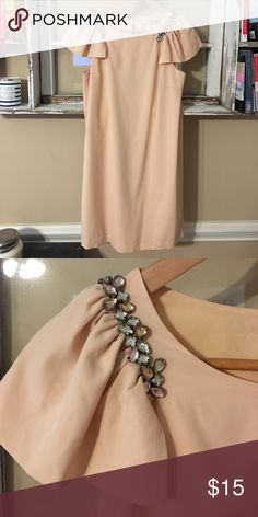 Flutter Sleeve Shift Dress with Jewel Detail This flutter sleeve shift dress has pastel green, pink, and aqua colored jewels that wrap around from front to back on the straps. It was worn once to a wedding and has been kept in a dress bag since. Forever 21 Dresses Mini