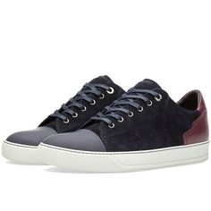 Lanvin Contrast Heel Low Sneaker (€385) ❤ liked on Polyvore featuring men's fashion, men's shoes and men's sneakers