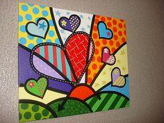 Britto Art, Art Lessons, Canvas Wall Art, Valentines Art, Doodle Art, Canvas Art, Art Journal, Canvas Art Painting, Pop Art