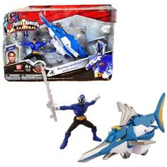 Bandai Year 2011 Power Rangers Samurai Series Action Figure Zord Vehicle Set - SWORDFISH ZORD with 3-1/2 Inch Tall Water Blue Mega Ranger Kevin and Removable Mask