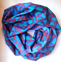 Blues and Coral Animal Printed Women's Infinity by SandySeaTurtle
