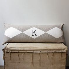Stitched Diamond Pillow Cover | west elm - can be monogrammed