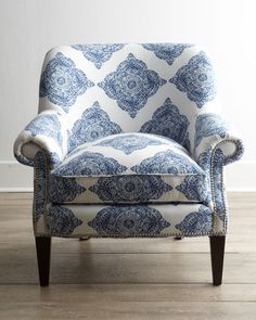 Alec Indigo Blue Wing Chair Timeless classic Upholstery and Indigo