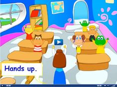 Engels leren aan kleuters met het digibord, sit down, stand up, clap your hands, turn around