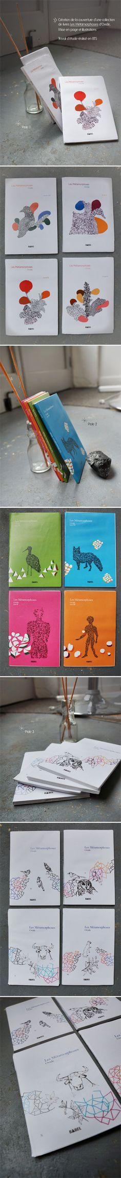 Illustrations et mise en page des couvertures d'une collections de livres Les Métamorphoses d'Ovide - projet d'études @Audrey Meisser