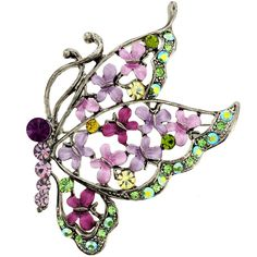 Silvertone, Pink and Green Crystal Butterfly Brooch
