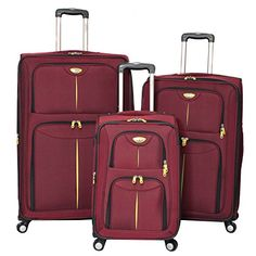 Luggage Sets Collections | American Green Travel Icon Expandable Luggage Set Burgundy * You can get additional details at the image link.(It is Amazon affiliate link) #follow